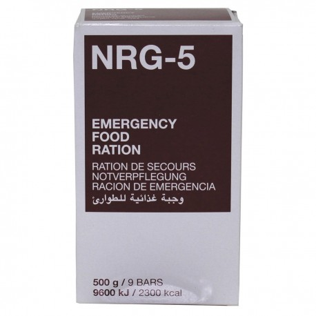 rations d'urgence, NRG-5, 500 g, (9 barre)